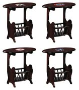 End Table Nightstand Mlb Team Logo Decal On A Cherry Finish With Magazine Holder