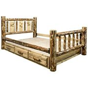 Amish Log Storage Bed Queen Drawers Laser Design Woodburning Rustic Unique Beds