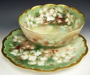 Superb Limoges Hand Painted Roses Pudding Set Charger And Bowl Artist Signed