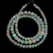 Ethiopian Welo Opal Smooth Round Bead Strand 16andrdquo Natural Gemstone 38.35 Cts