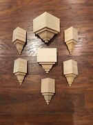 """Crown Molding Corners Bare Pine 10 Block Set For Up To 3 5/8"""" Crown"""