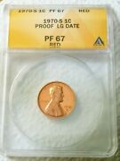1970-s Pf67 Rd Red Large Date Lincoln Memorial Cent 1c Anacs Graded