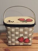 Vintage Wooden Bucket Box Purse W/ Handle Apples And Worm Black Off White Red