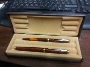 Set Of Parker 75 Gt Fountain And Ballpoint Pens Thuya Brown Chinese Lacquer Boxed