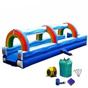 Commercial Inflatable Slip-n-slide With Blower 25and039 Rainbow Blue Marble Wet Slide