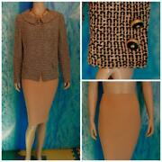 St John Knits Collection Gold Black Jacket Skirt L 12 10 2pc Suit Collar Buttons