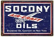Vintage Antique Style Metal Sign Standard Oil Socony 18x30