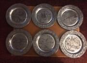 Lot Of 6 Wilton Columbia Decorative Pewter Plates From 1979-1984