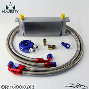 16 Row An10 Universal Engine Oil Cooler + Blue Filter Adapter Kit For Japan Cars