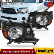 Headlights Assembly For 2005-2011 Toyota Tacoma Black Amber Headlamps Left+right