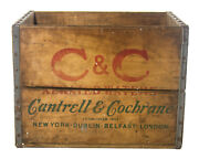 Rare Vintage Candc Aerated Waters Cantrell And Cochrane Wooden Soda Crate Box Nyc