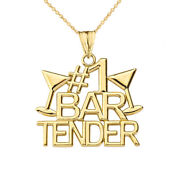 Solid Gold 1 Bartender Pendant Necklace In Yellow White Rose