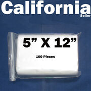 100 Reclosable 5 X 12 Zip Bags Clear Poly Plastic Lock Able 12.5 X 30 Cm Zippy