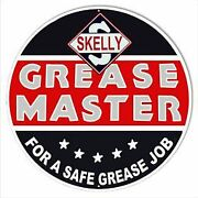 Vintage Antique Style Metal Sign Skelly Grease Master 30 Round
