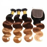 Stock Lace Brazilian Brown/blonde B.w. Ombre Closure 130/dble Drwn Wefts 12-24