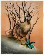 Martha Mignonne Ryther Original Reverse Glass Painting Of Pheasant Signed And Fine