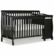 Dream On Me Brody 5-in-1 Convertible Crib With Changer In Black