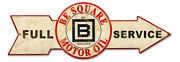 Vintage Style Metal Sign Full Service Be Square Motor Oil 32 X 11