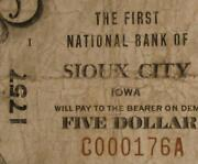 Sioux City Iowa Ia 1929 5.00 Ch.1757 The First National Bank