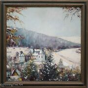 Beautiful German Oil Painting Of Idstein Germany In Winter Signed Hulk 1of2