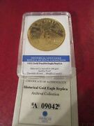 American Mint 24kt Gold Layered 1933 Gold Double Eagle Medal Coa