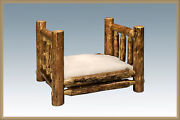 Rustic Log Dog Beds Small Pet Bed With Mattress Amish Made Lodge Cabin Furniture