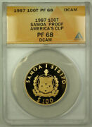 1987 Samoa Americaand039s Cup 100 Tala Proof Gold Coin Anacs Pf-68 Dcam