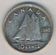Canada George Vi 10 Cents 1945 - Iccs Ms-64