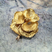Vintage Famous And Co Beautiful 18k Yellow Gold Garden Rose Broach