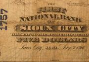 Sioux City Iowa Ia 1902 5.00 Plain Back Ch. 1757 The First National Bank
