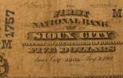 Sioux City Iowa Ia 1902 5 Plain Back Ch. 1757 The First National Bank W/ M