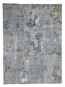 9and039x12and0391 Gray Modern Mosaic Broken Design Wool And Silk Oriental Rug G46080