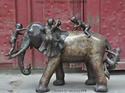 31huge China Fengshui Bronze Tong Zi Boy Girl Ride Elephant Auspicious Statue