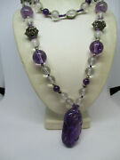 Antique Chinese Carved Amethyst And Crystall Beads Filigree Gilt Silver Necklace