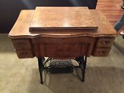 Antique New Home Treadle Sewing Machine Table Cabinet Cast Iron 1920 3962774