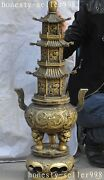 27old Chinese Buddhism Temple Bronze Dragon Beast Tower Incense Burner Censer