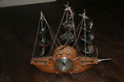Rare Mastercrafters Savannah Wood And Chrome Sessions 8 Day Ship Mantle Clock