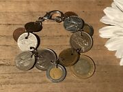 Recycled Coin Jewelry World Coin Charm Bracelet Sizable