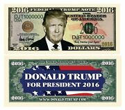 Donald Trump 2016 Presidential Dollar Bill 1 5 10 15 20 25 30 35 40 45 50 75 100