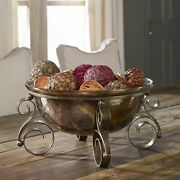 Tuscan Decor Scrolled Iron And Glass Fruit Bowl Centerpiece Decorative Old World
