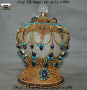 Collect Noble Old Tibet Silver Filigree Crystal Inlay Turquoise Pot Tanks Crock