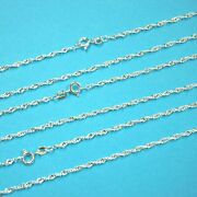 Wholesale Lots Real 925 Sterling Silver 2mm Dc Singapore Chains 18 20 22 24