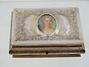 Gorgeous Antique Silver Jewelry Box Hand Painted Miniature Sterling Portugal