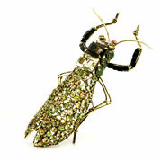Candd Jewelry Vintage Costume Large Locust Insect Bug Gem Brooch Pin Iradj Moini