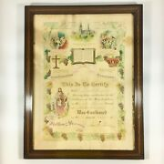Antique Lutheran Confirmation Christian Baptism Certificate 1918 Ohio Framed
