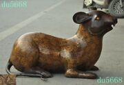 Old Chinese Dynasty Feng Shui Bronze Zodiac Lucky Animal Wealth Mouse Rat Statue