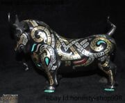 Old China Bronze Silver 24k Gold Gilt Inlay Turquoise Gem Animal Ox Bull Statue