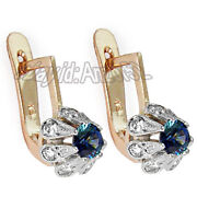 Russian Ussr Vintage Style 585 14k Rose And White Gold Diamond Sapphire Earrings