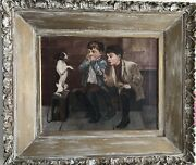 Fournier 1914 French Dogs Boys Oil Painting Music Hath Charms Jack Russel