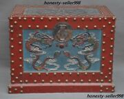 """Old Dynasty Lacquerware Wood Dragon Ancient Officer""""鏢""""escort Treasure Chest Box"""